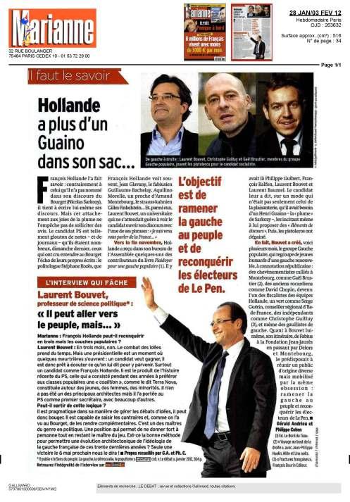 Article paru dans Marianne le 28 janvier 2012